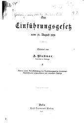 Das Einführungsgesetz vom 18. August 1896