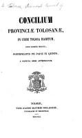 Concilium Provinci   Tolosan    in urbe Tolosana habitum  anno     1850 PDF