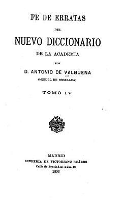Fe De Erratas Del Nuevo Diccionario De La Academia