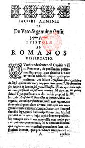 Iacobi Arminii ... De vero&genuino sensu cap. VII. Epistolæ ad Romanos dissertatio. Few ms. notes