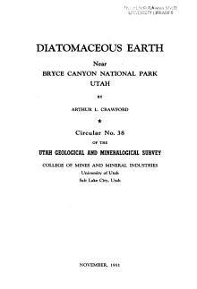 Diatomaceous Earth Near Bryce Canyon National Park  Utah PDF