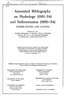 Annotated Bibliography on Hydrology  1951 54  and Sedimentation  1950 54  United States and Canada PDF