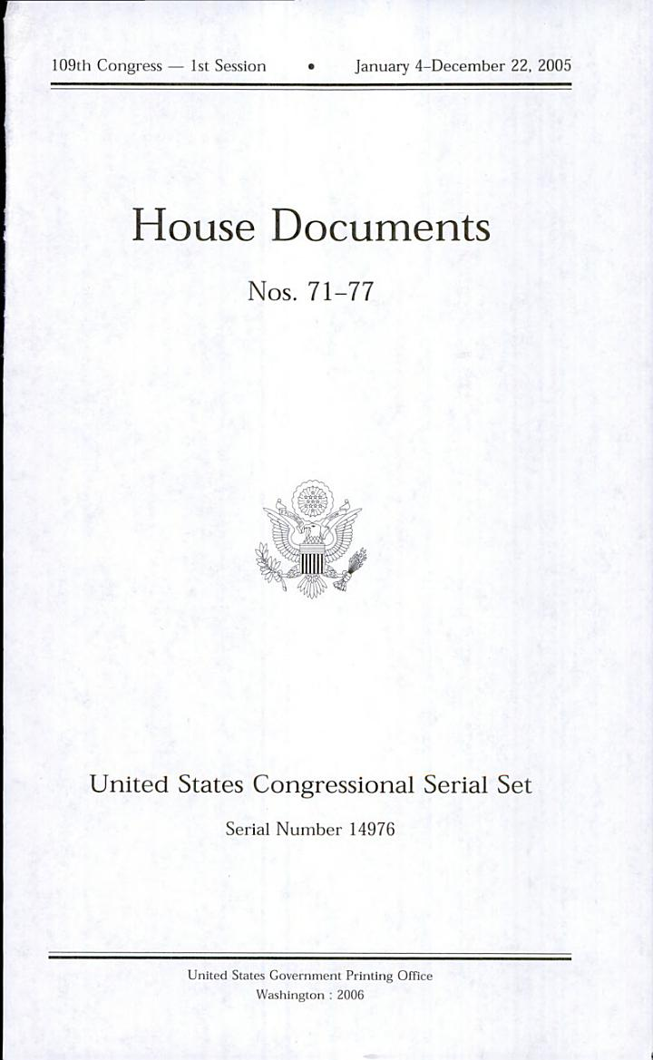 United States Congressional Serial Set, Serial No. 14976, House Documents Nos. 71-77