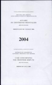 Affaire du différend frontalier (Bénin/Niger): ordonnance du 9 juillet 2004