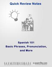Spanish 101 - Basic Phrases, Pronunciations and More: Quick review study notes for students and language learners