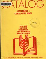 Food and Nutrition Information and Educational Materials Center catalog PDF