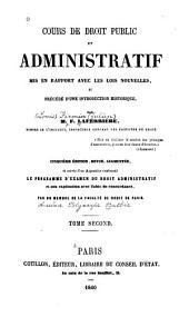 Cours de droit public et administratif: mis en rapport avec les lois nouvelles ...
