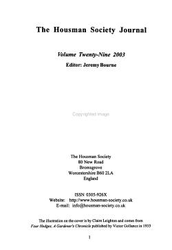 Housman Society Journal PDF