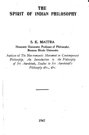 The Spirit of Indian Philosophy PDF
