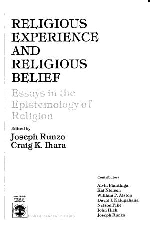 Religious Experience and Religious Belief