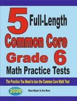 5 Full Length Common Core Grade 6 Math Practice Tests PDF