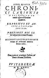 Liber quintus chronici Carionis a Friderico Secando usque ad Carolum Quitum