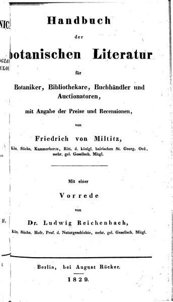 Bibliotheca Botanica     Pr  fatus est L  Reichenbach  Handbuch der botanischen Literatur  etc PDF