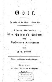 Gott: einige Gespräche über Spinoza's System; nebst Shaftesburi's Naturhymnus