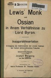 Lewis' Monk und Ossian in ihrem Verhältnisse zu Lord Byron