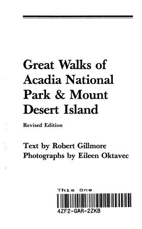Great Walks of Acadia National Park   Mount Desert Island PDF