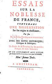 Essais sur la noblesse de France, contenans une dissertation sur son origine & abaissement