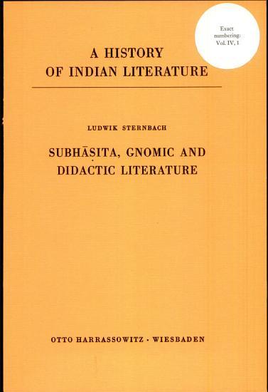 Subhasita  Gnomic and Didactic Literature PDF
