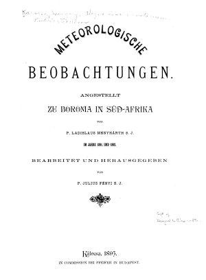 Publicationen des Haynald Observatoriums