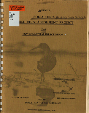 Draft Environmental Impact Report for Marsh Re-establishment Project