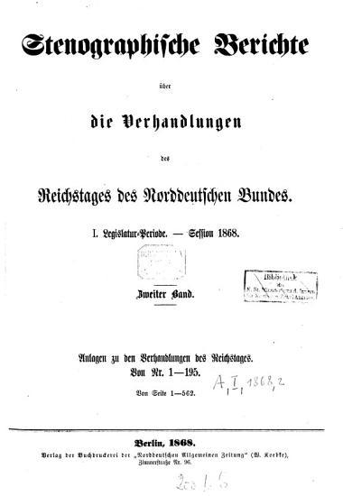 Verhandlungen des Reichstages des Norddeutschen Bundes PDF