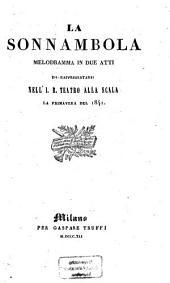 La sonnambola: Melodramma in due atti. Da rappresentarsi nell'J. R. Teatro tro alla Scala la primavera del 1841. (Musica del Maestro Vincenzo Bellini.)