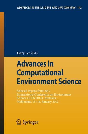 Advances in Computational Environment Science PDF