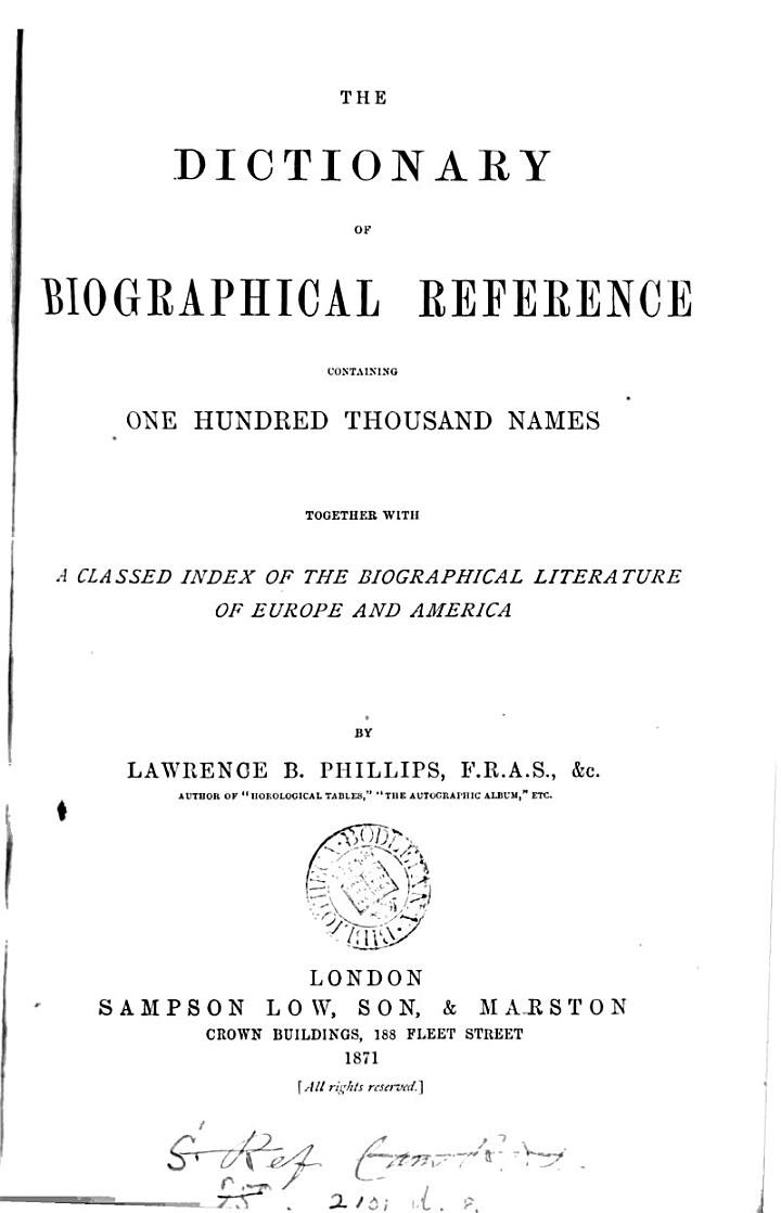 The Dictionary of Biographical Reference