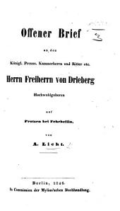 Offener Brief an ... Freiherrn von Drieberg, etc. [in reply to his letters on the Torricellian doctrine of atmospheric pressure].