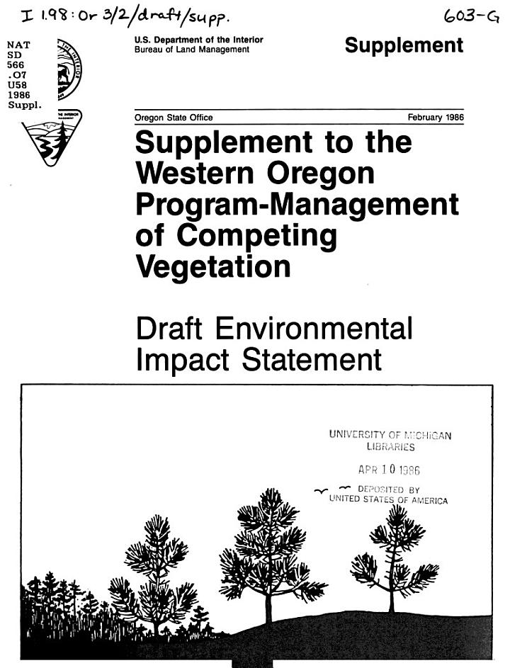 Supplement to the Western Oregon Program-management of Competing Vegetation