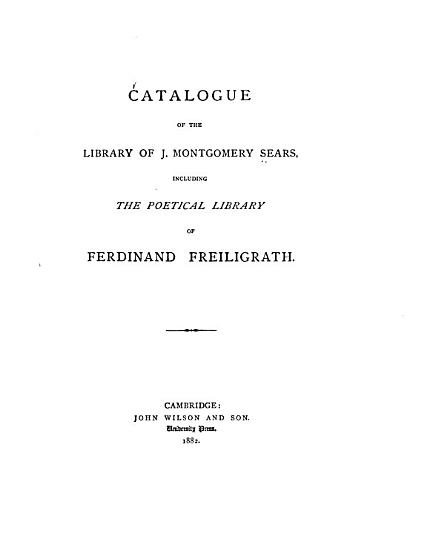 Catalogue of the Library of J  Montgomery Sears PDF