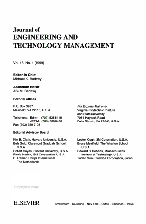 JOURNAL OF ENGINEERING AND TECHNOLOGY MANAGEMENT JET M PDF