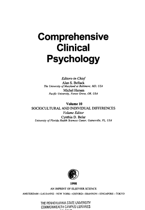 Comprehensive Clinical Psychology  Sociocultural and individual differences PDF