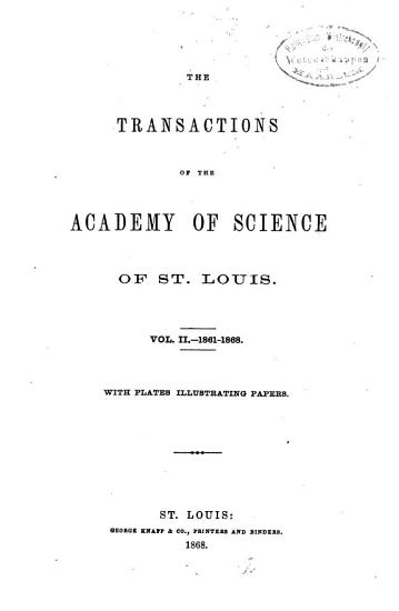 The Transactions of the Academy of Science of Saint Louis PDF