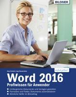 Word 2016 Profiwissen f  r Anwender PDF