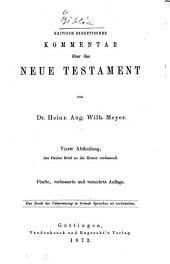 Kritisch-exegetischer Kommentar über das Neue Testament: Band 4