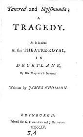 Tancred and Sigismunda, a Tragedy
