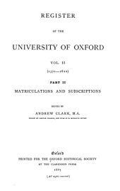 Register of the University of Oxford: Volume 3
