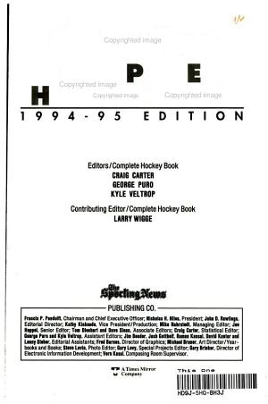 Complete Hockey Book  1994 1995