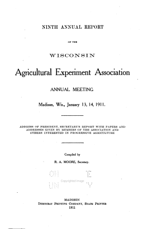 Annual Report of the Wisconsin Agricultural Experimental Association