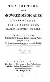 Traduction des oeuvres médicales d'Hippocrates: sur le taxte Grec, d'apres l'édition de föes, Volume2