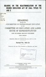 Hearing on the Reauthorization of the Higher Education Act of 1965