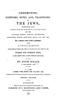 Ceremonies, Rites, and Traditions of the Jews ... Second edition