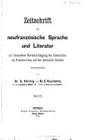Zeitschrift f  r neufranz  sische Sprache und Literatur mit besonderer Ber  cksichtigung des Unterrichts im Franz  sischen auf den deutschen Schulen PDF