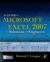 A Guide to Microsoft Excel 2007 for Scientists and Engineers PDF