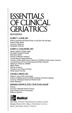 Essentials of Clinical Geriatrics  Sixth Edition PDF