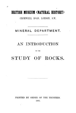 An Introduction to the Study of Rocks PDF