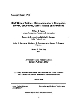 Staff Group Trainer  Development of a Computer driven  Structured  Staff Training Environment