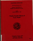 Public Health Effects of Toxic Mold