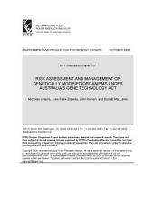 Risk Assessment and Management of Genetically Modified Organisms Under Australia's Gene Technology Act